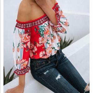 Floral off shoulder cropped top